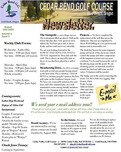 August 15 2009 Golf Club Newsletter