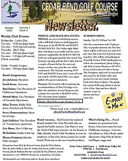 October 15 2009 Golf Club Newsletter