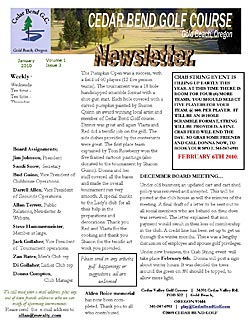 January 2010 Golf Club Newsletter