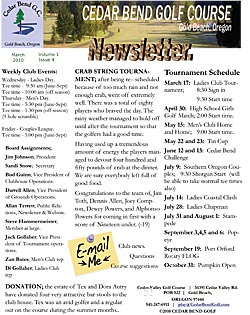March 2010 Golf Club Newsletter